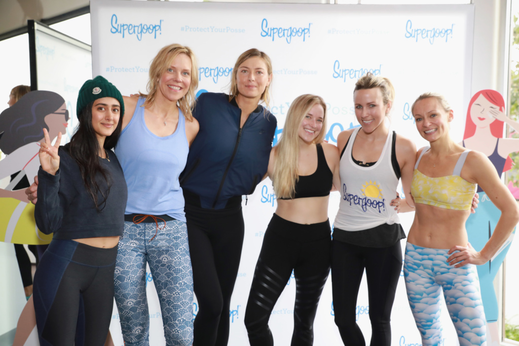 LOS ANGELES, CA - JANUARY 10: (L-R) Tara Sowlaty, Supergoop! founder, Holly Thaggard, Supergoop! co-owner, Maria Sharapova, Jordan Younger, Jacey Duprie and Simone De La Rue attend the Supergoop! #ProtectYourPosse event with Maria Sharapova on January 10, 2017 in Los Angeles, California. (Photo by Rachel Murray/Getty Images for Supergoop!)
