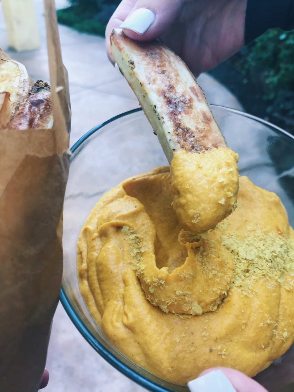 Salt Oil Sugar Free Baked French Fries Plant Based Nacho Cheese Dip The Balanced Blonde
